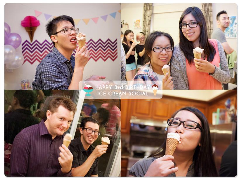 好朋友們吃  ice cream cones