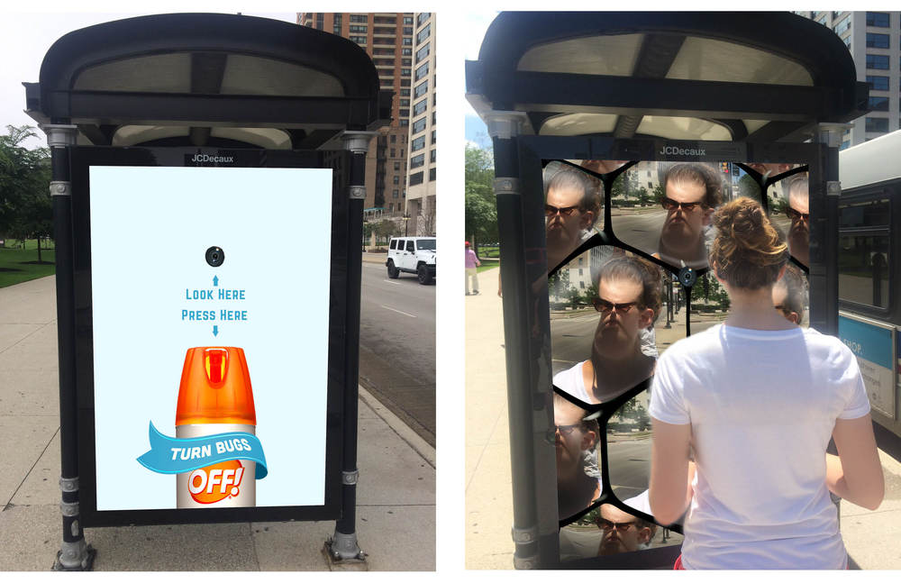 Digital OOH uses photobooth style video effects to augment the user's face.