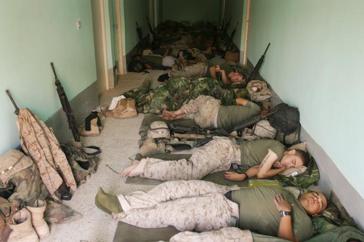 1/2 weapons company marines sleep after convoy from Kuwait, July 22, 2004