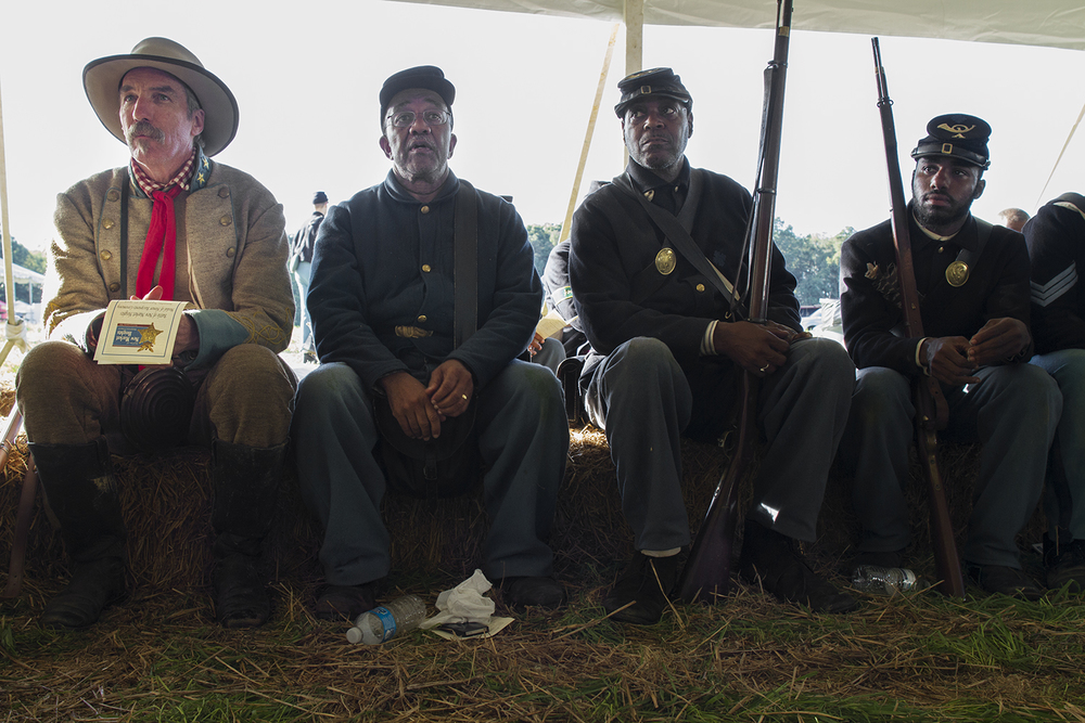 Reenactors from both sides at the ceremony following the staging of the battle of New Market Heights. Henrico, Co., Virginia, September 2014