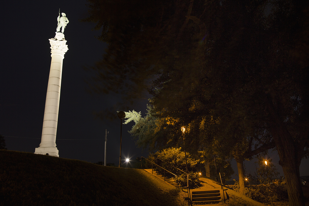The Confederate Soldiers and Sailors Monument, erected in 1894, one of dozens of such public memorials to the Confederacy in its former capital, and one among hundreds across the South, Richmond, VA, 2014.