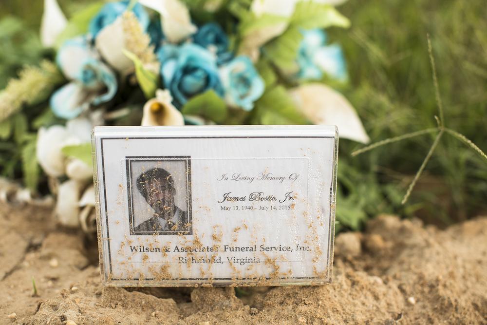 Temporary marker, Evergreen Cemetery, Richmond, VA, September 14, 2015