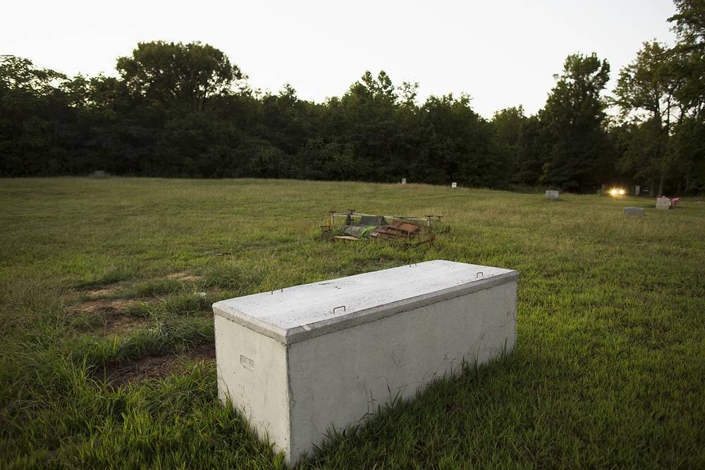 Concrete container for casket in center section, Evergreen Cemetery, Richmond, VA, September 14, 2015