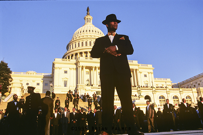 Member of the Fruit of Islam in front of the U.S. Capitol after the Million Man March on the National Mall, sponsored by the Nation of Islam, Washington, DC, October 16, 1995.