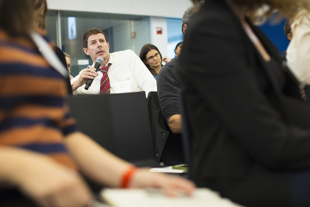 Stephen Mayes (Tim Hetherington Trust) asks question during panel Q&A, Columbia Journalism School, NY, NY, October 16, 2015