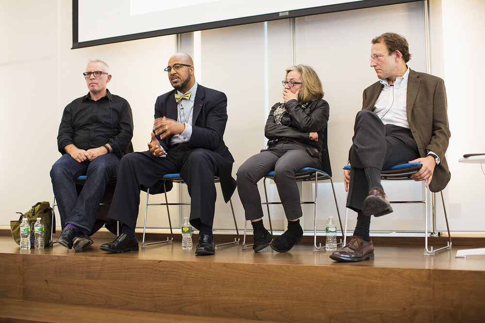 """The Press and Photography"" panel, with Aidan Sullivan (Getty Images), Kenny Irby (Poynter Institute), Michele McNally (NY Times), Santiago Lyon (Associated Press), Columbia Journalism School, NY, NY, October 16, 2015"
