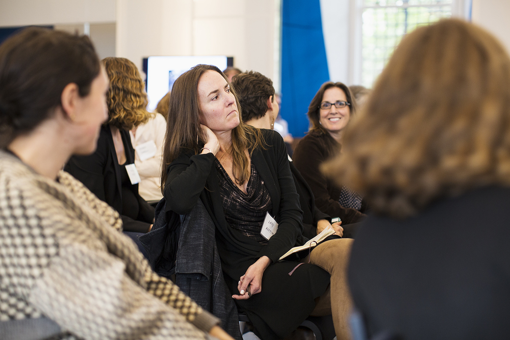 Audience members, Lacy Austin (ICP) among them, listen to panel during Image Truth/Story Truth conference, Columbia Journalism School, NY, NY, October 16, 2015
