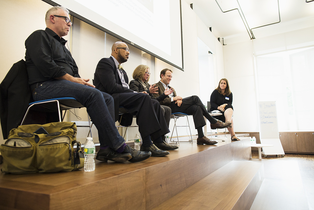 """The Press and Photography"" panel, with Aidan Sullivan (Getty Images), Kenny Irby (Poynter Institute), Michele McNally (NY Times), Santiago Lyon (Associated Press), and moderator Claire Wardle, Columbia Journalism School, NY, NY, October 16, 2015"