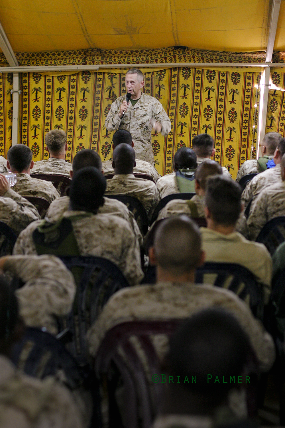 Major General James N. Mattis briefs Marines about to convoy north to Babil province, Camp Virginia, Kuwait, 9 July 2004