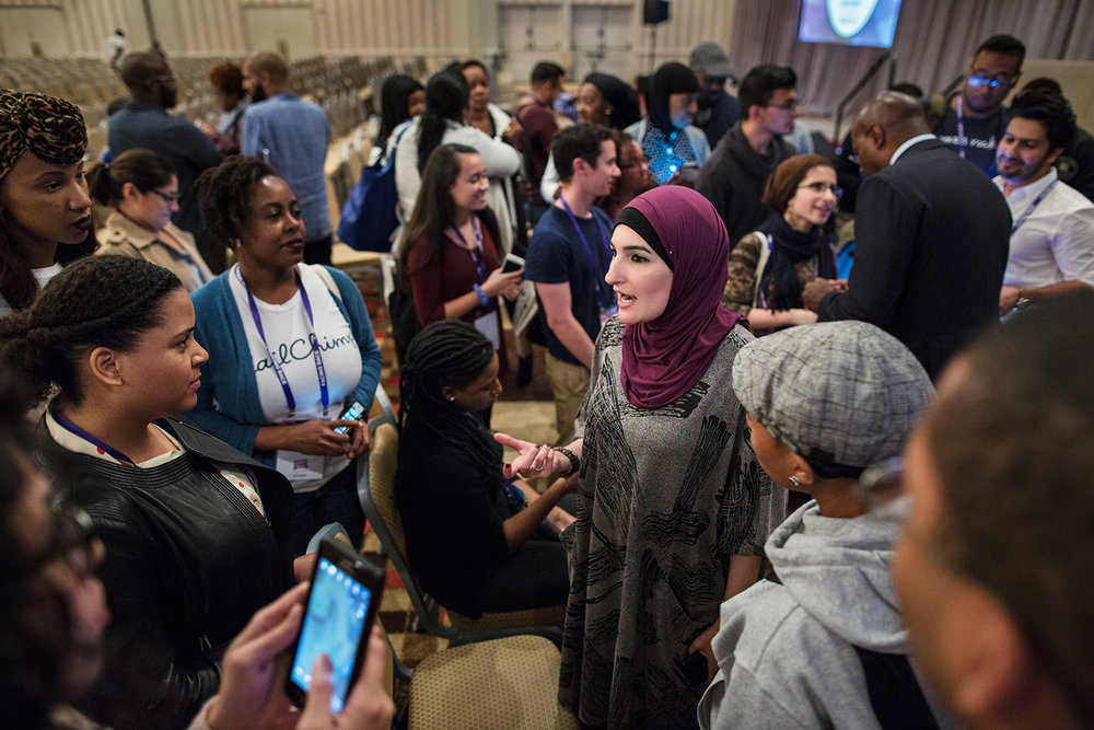 Linda Sarsour speaks to conference attendees after Facing Race 2016 plenary session, Atlanta, GA, 12 November