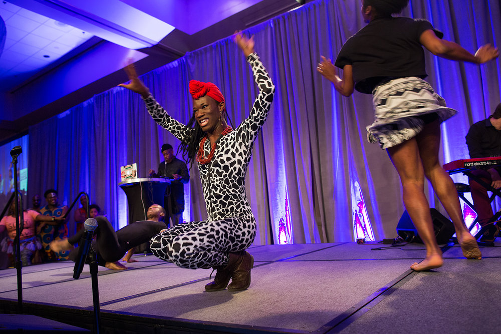 Micky B vogues during a performance on the opening night of the Facing Race 2016 racial justice conference, Atlanta, GA, 10 November