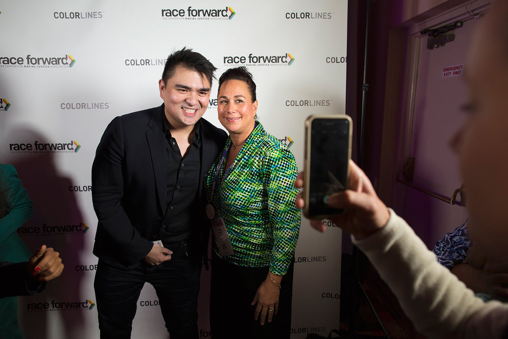 Keynote speaker Jose Antonia Vargas poses with admirer at Facing Race 2016, Atlanta, GA, 11 November