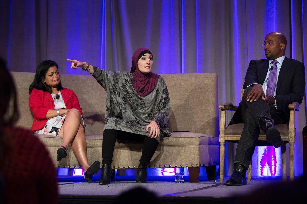 "Linda Sarsour ( Arab American Association of New York ) speaks at plenary session ""Where Do We Go From Here?"" during Facing Race 2016 (at the far left of the image is Pramila Jayapal, state senator and  US Representative-elect , D-WA; on the right side of image is Van Jones,  Dream Corps  and  CNN ), Atlanta, GA, 12 November"