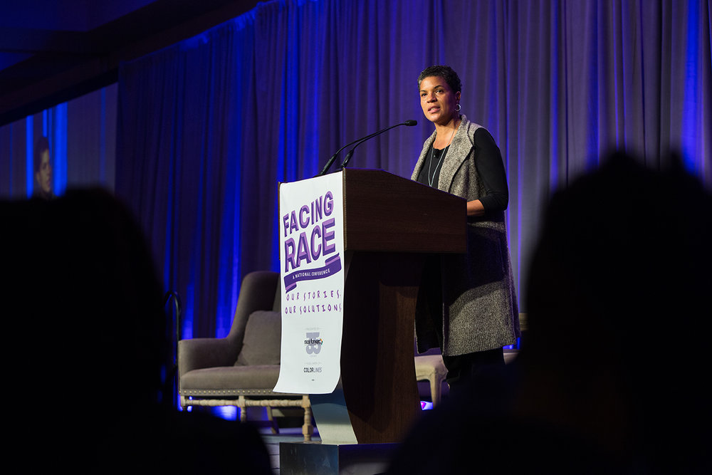 "Michelle Alexander ( The New Jim Crow ) speaks at Facing Race 2016 plenary session, ""Multiracial Movement for Black Lives."" Atlanta, GA, 11 November"