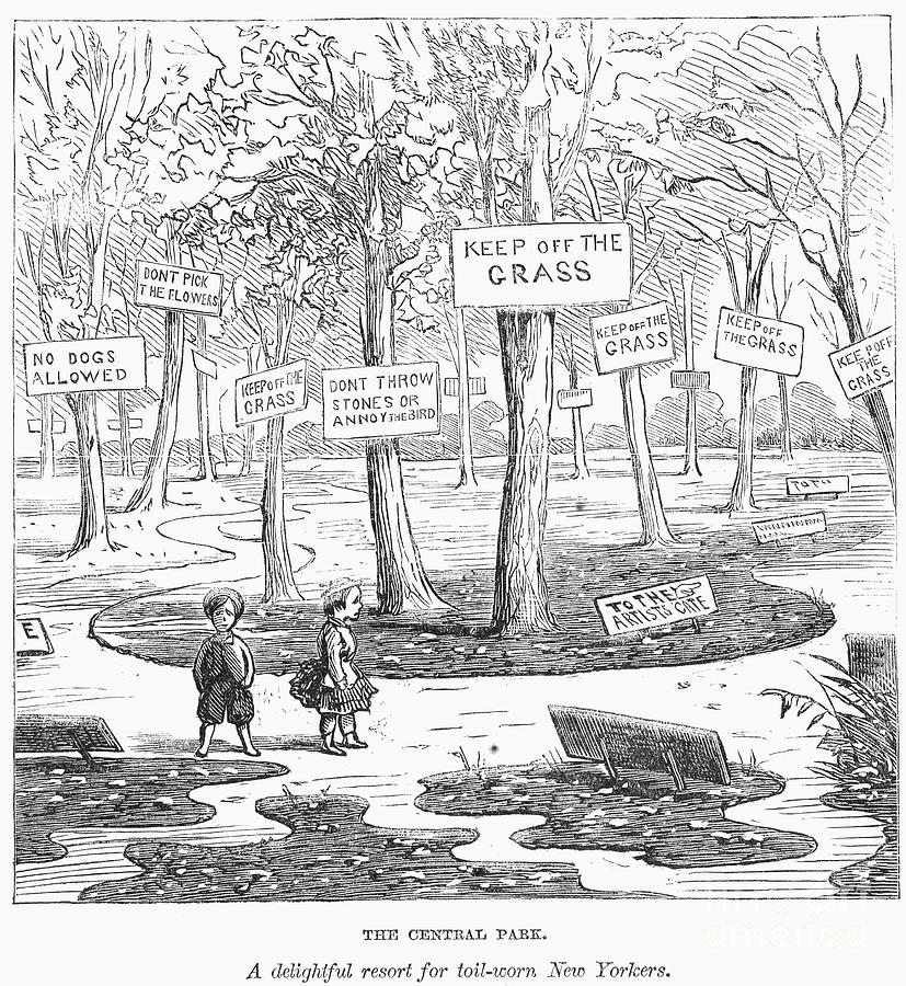 The 1869 cartoon depicting citizens' disappointment with the rules of Central Park.