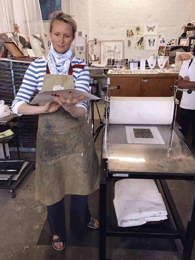 Trudy giving a solar plate printing demonstration at Open Studio