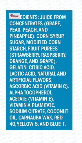 Welch's Fruit Snack Ingredients, from their website