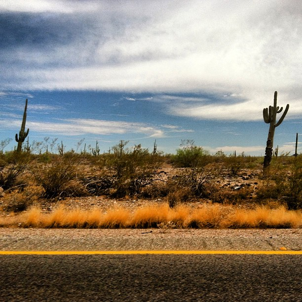 driving through Arizona desert