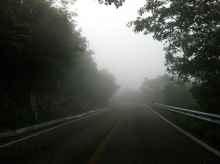driving across mexico above the clouds