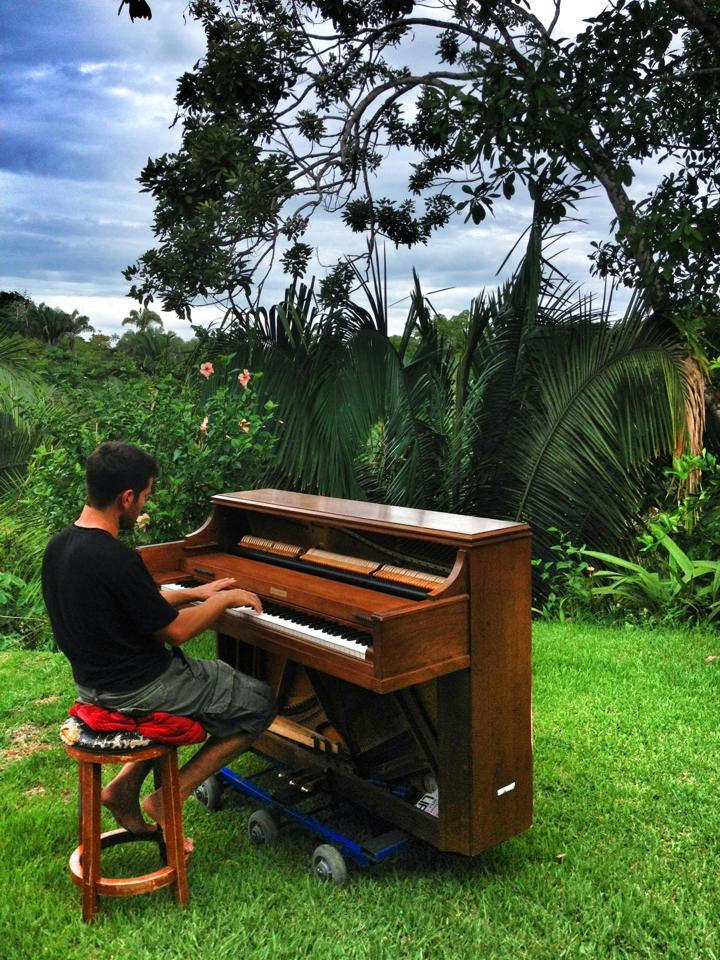 Playing piano in the tropical rainforest in costa rica