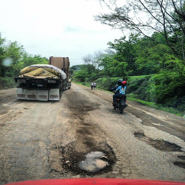 Driving through Honduras Treatcherous roads potholes dangerous