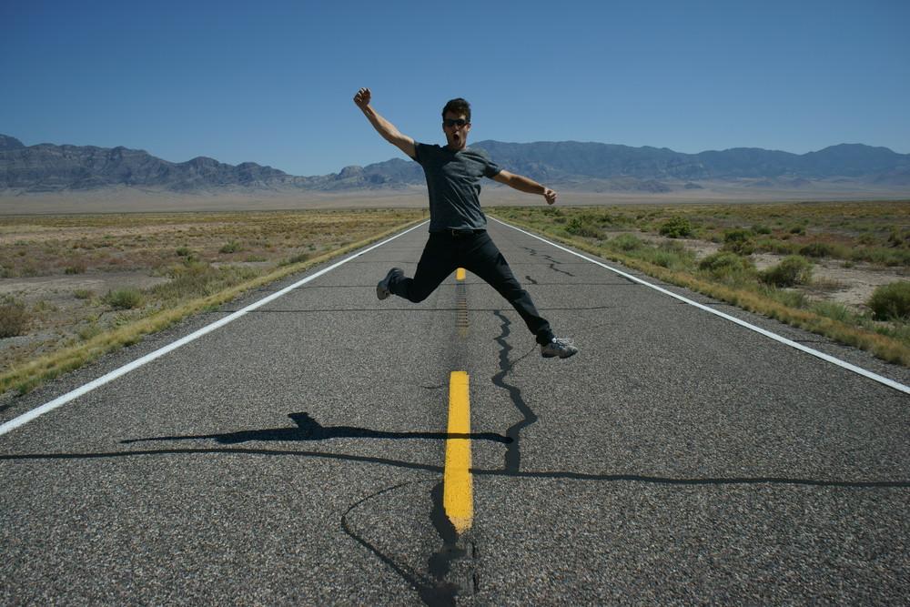jumping in the desert nevada
