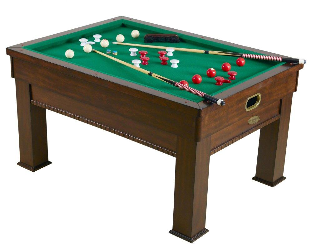 3 in 1 - Rectangular SLATE Bumper Pool, Card & Dining Table in Walnut