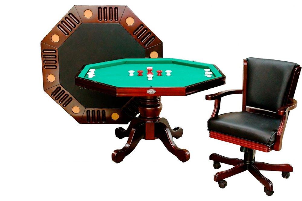 "3 in 1 - 48"" or 54""Octagon Poker/Bumper/Dining in Mahogany"