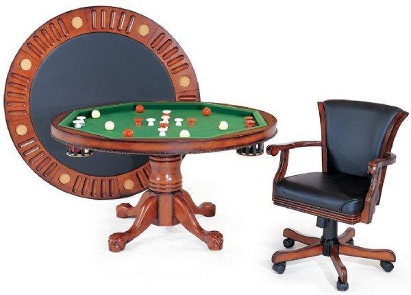 "3 in 1 – 48"" or 54"" Round Poker/Bumper/Dining in Antique Walnut"