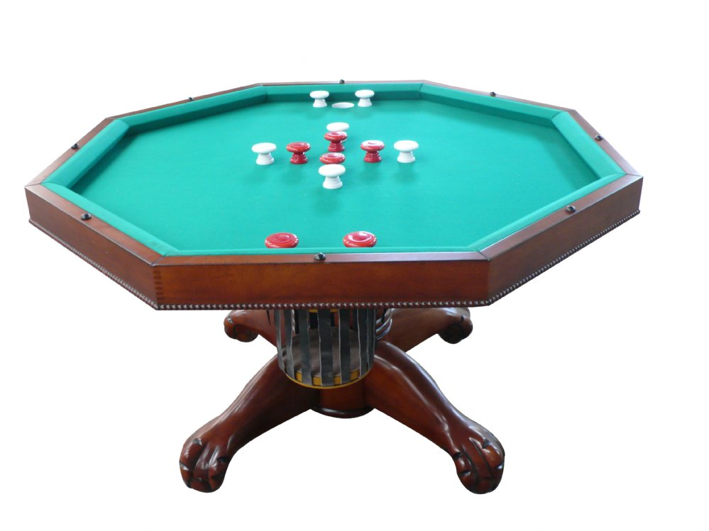 "3 in 1 Table - Octagon 54"" w/Bumper Pool with SLATE bed in Antique Walnut"