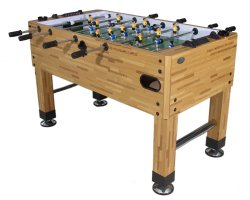Premium Foosball Table in Butcher Block with both 1 & 3-Man Goalie