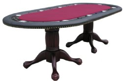 "96"" Oval Holdem Poker Table w/ Optional Dining Top in Mahogany"