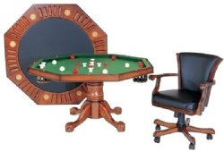 "3 in 1 - 48"" Octagon Poker/Bumper/Dining in Antique Walnut"