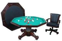 "3 in 1 – 54"" Octagon Poker/Bumper/Dining in Dark Walnut"