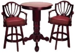 Mahogany Pedestal Pub Table Set