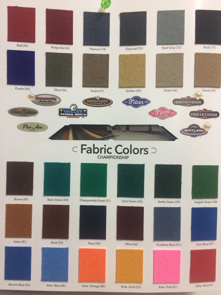 Color Chart America Billiards Pool Tables Game Tables Services