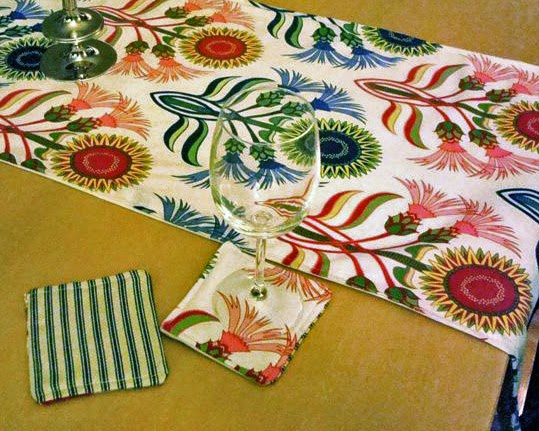 table runner and coaster