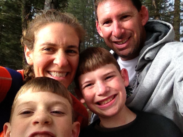 Jill hiking with her family.
