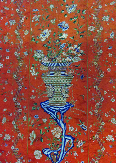 double sided wall hanging from China made for the European market in the second half ofthe 18th century. This is silk satin and embroidered with silk.