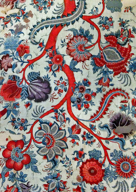 """Palampore - from India made for the Sri Lankan market - cotton, paint resist and mordant, dyed 72"""" x 44"""""""