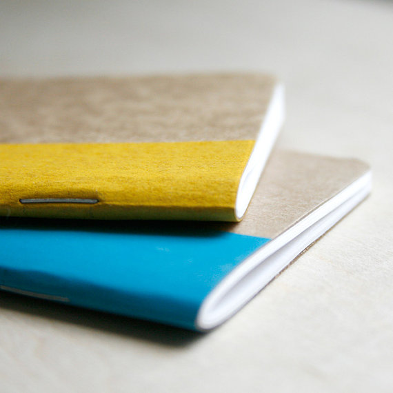 mini screen printed notebook in bright blue and neon yellow by Jenn Eng Studio
