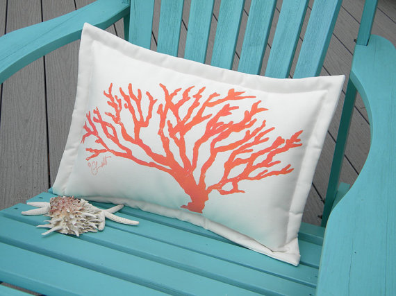 coral print outdoor pillow from  crabbychris  on etsy