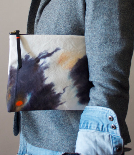 Hand dyed organic cotton canvas pouch by  Katrin Reifeiss