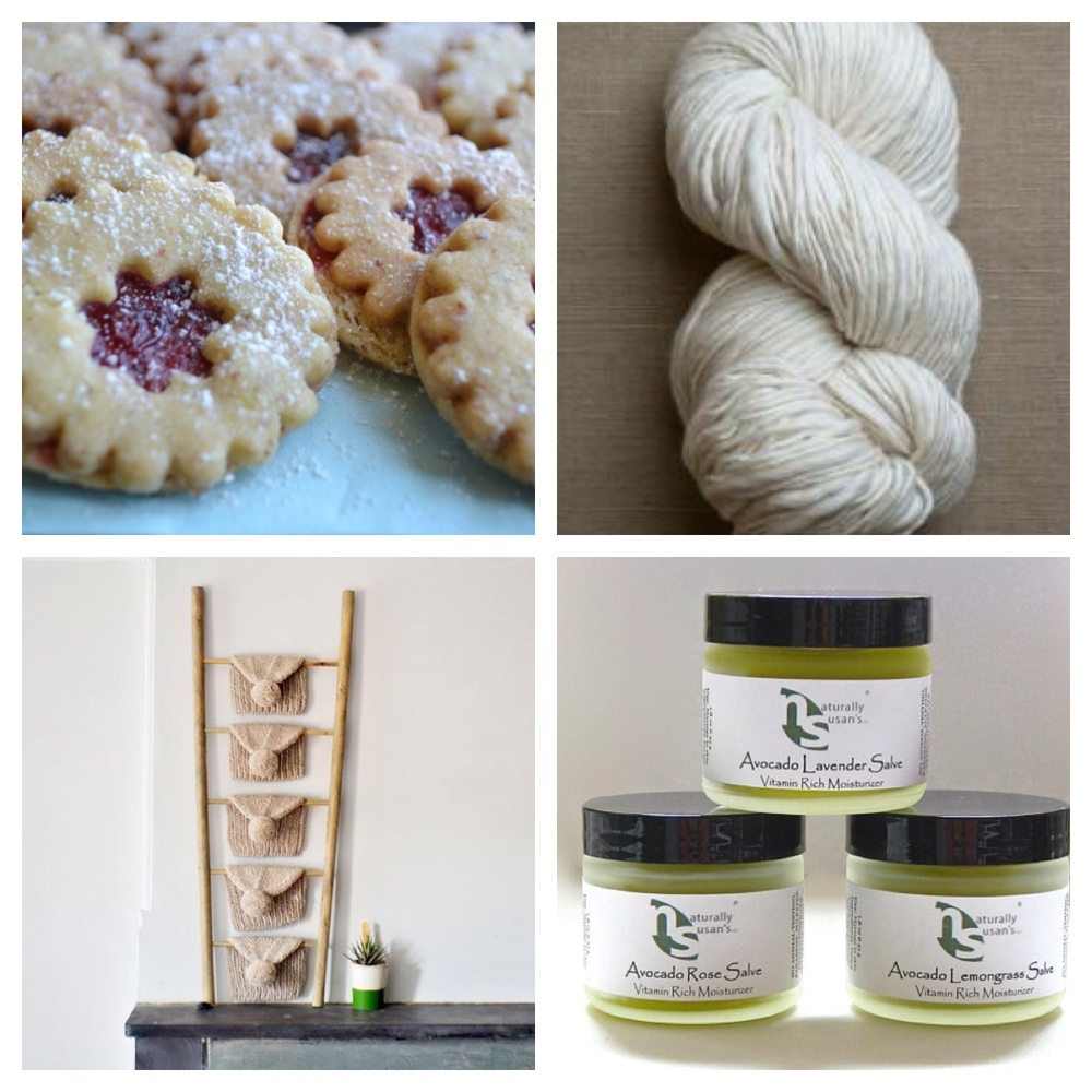 A sampling of some of the goodies up for grabs in this year's rafflecopter drawing - Purl Merino Script Yarn from Purl Soho, Linzer Cookies by Vienna Cookie Co, PomPom Hat by PurlBKnit and Moisturizer by Naturally Susan's among several others!
