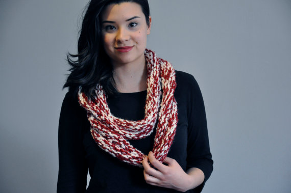 The Candy Cane Infinity Scarf, $30.00   Slope Girl Knits