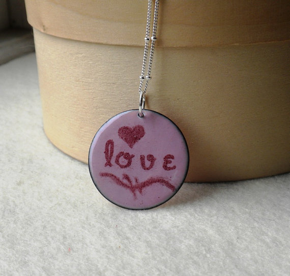 Enamel Love Necklace in Pink , $50.00 by Beinthemoment