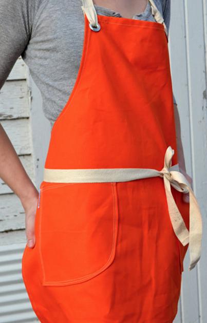 white barn mercantile orange canvas apron
