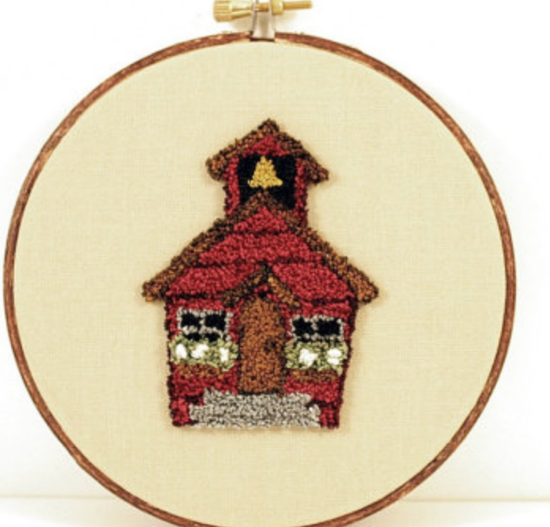 Little Red School House needlepoint art from  Harp and Thistle on Etsy.com