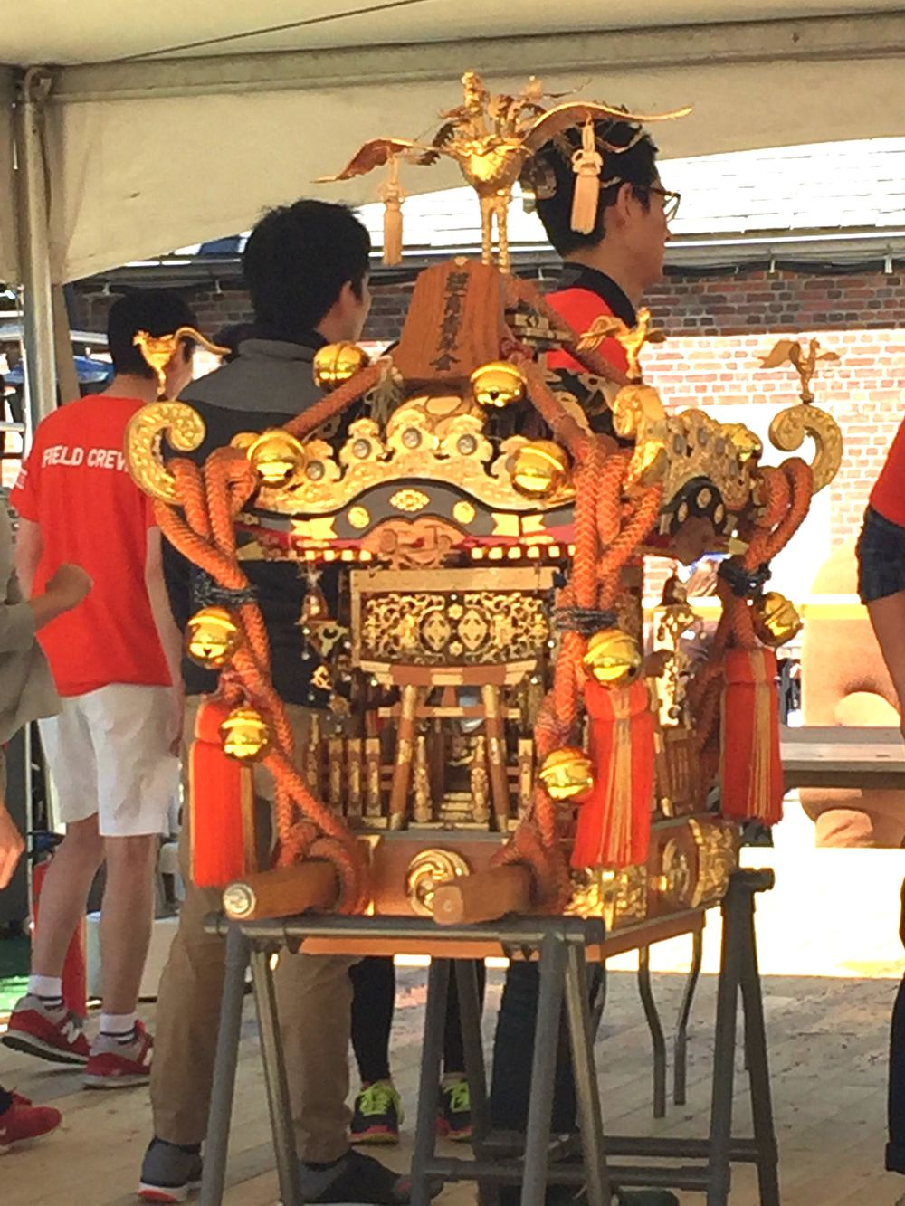 The mikoshi, a portable Shinto shrine carried in the festival parade.