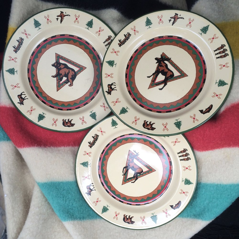 My parents purchased a set of these adorable plates and bowls for a song; they'll be perfect for summer sweets around the fire pit and will bring a bit of log cabin life to New York.  I got this great vintage Hudsons Bay blanket for the same reason. I've been searching for one for years and am so happy to have found it.